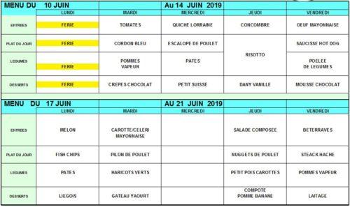 menus 10 au 21 juin